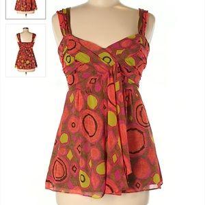 Nanette Lapore Silk Orange Pink Sleeveless Top 2